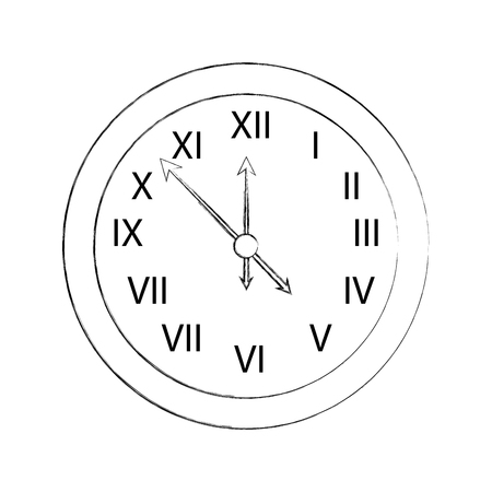 happy new year clock countdown five minute time decoration christmas vector illustration Illustration
