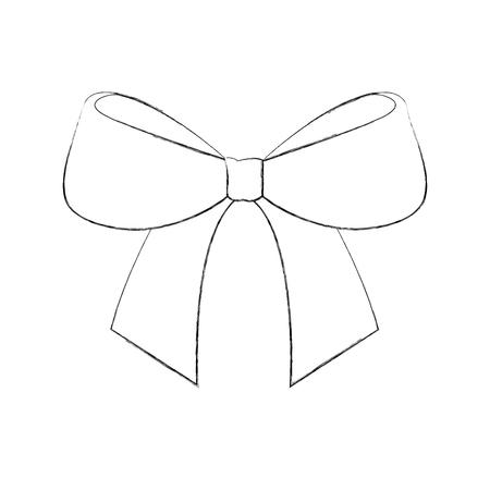 christmas bow ribbon decoration ornament vector illustration Ilustração