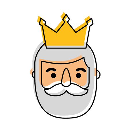 the wise king face christmas cartoon vector illustration Illustration