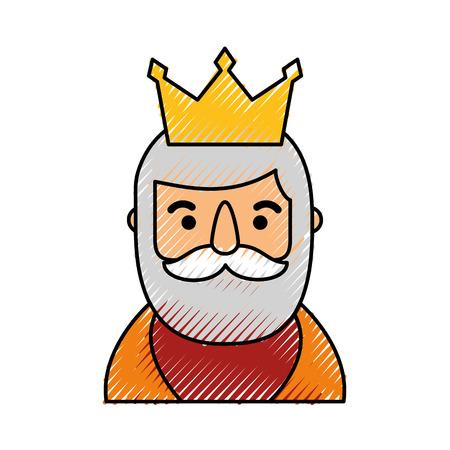 飼い葉桶の賢明な王の肖像画クリスマスお祝いベクトル イラスト