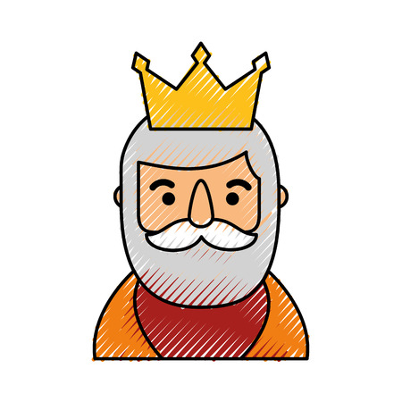 manger wise king portrait christmas celebration vector illustration Vettoriali