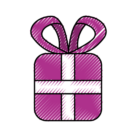 christmas gift box wrapped ribbon bow decoration vector illustration