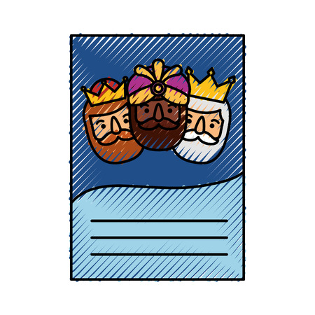 the three kings of orient letter epiphany celebration vector illustration Illustration