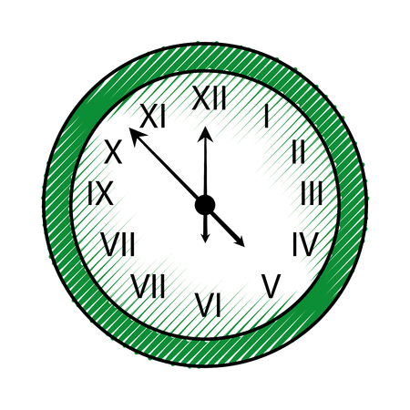 happy new year clock countdown five minute time decoration christmas vector illustration Çizim