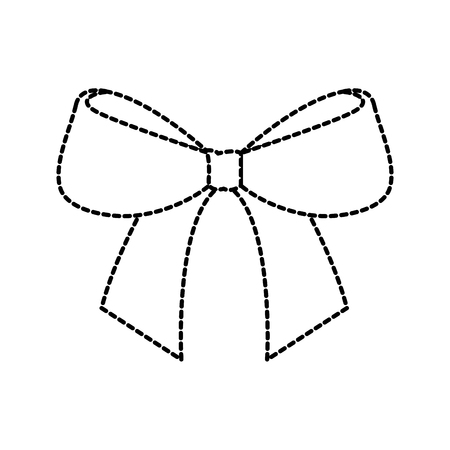 christmas bow ribbon decoration ornament vector illustration Illustration