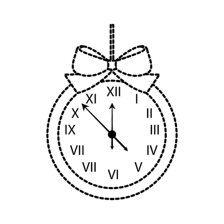 christmas clock frame bow ribbon decoration vector illustration