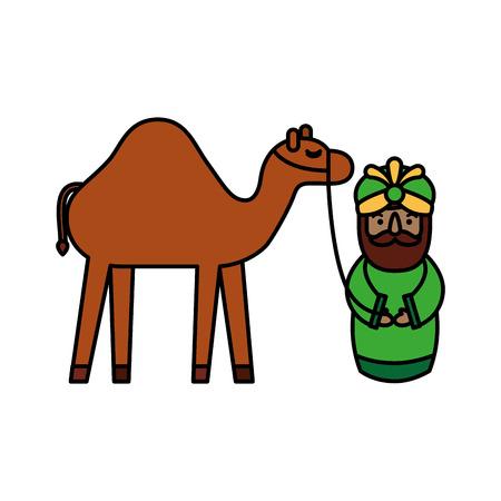 낙타 관리자 전통적인 벡터 일러스트와 만화 현명한 왕