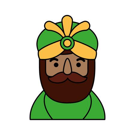 manger wise king portrait christmas celebration vector illustration Illustration