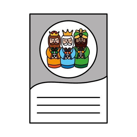 the three kings of orient letter dear wise men written template vector illustration