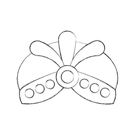 cartoon hat with jewelry king icon vector illustration
