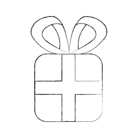 Kerst geschenk vak verpakt lint boog decoratie vector illustratie Stock Illustratie