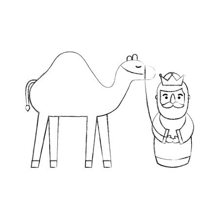 Cartoon wijs koning met traditionele vectorillustratie van de kameel trog Stockfoto - 90054001