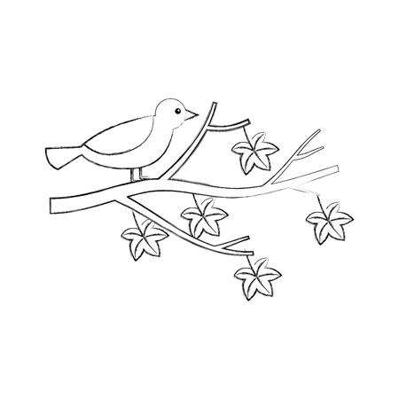 pájaro hermoso del otoño en la rama y las hojas ilustración vectorial Ilustración de vector