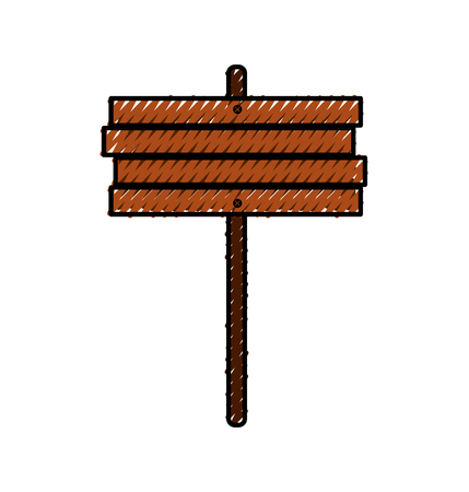 wooden sign post blank brown symbol vector illustration