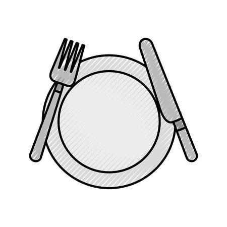 台所用品の皿ナイフとフォーククッキングベクトルイラスト  イラスト・ベクター素材