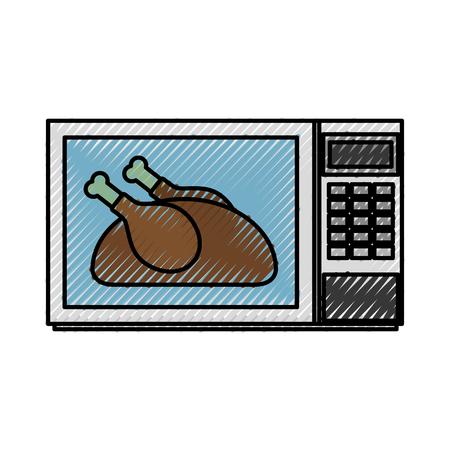 電子レンジでおいしいチキン感謝祭食品ベクトルイラスト