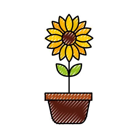 potted flower nature decoration interior plant vector illustration Illustration