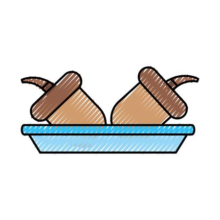 秋のドングリ料理自然食品ナッツのベクトル イラスト