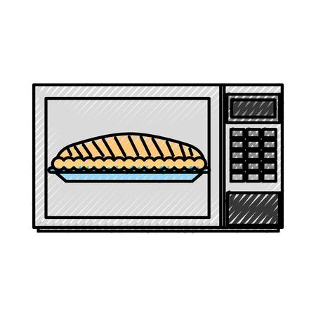 電子レンジ ケーキ感謝祭ディナー ベクトル図のカボチャ