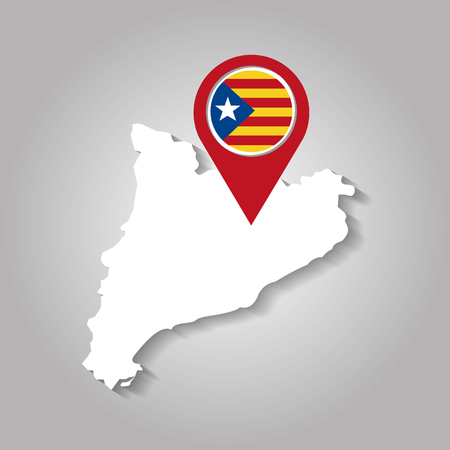 white map of catalonia with pointer flag vector illustration