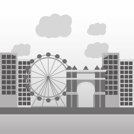 barcelona architecture skyline cityscape with famous landmarks vector illustration