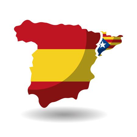 スペイン地図、カタルーニャ独立のベクトル図にフラグを設定します。