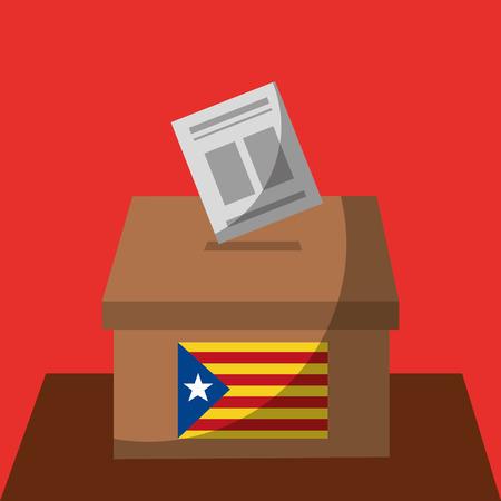 vote box ballot catalonia flag separatism government vector illustration