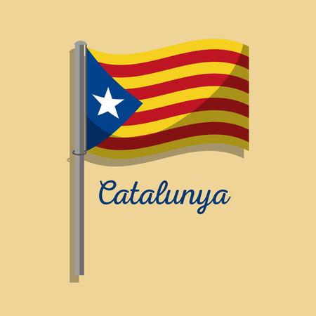 카탈로니아 플래그 게시물 흔들며 민족주의 기호 벡터 일러스트 레이션