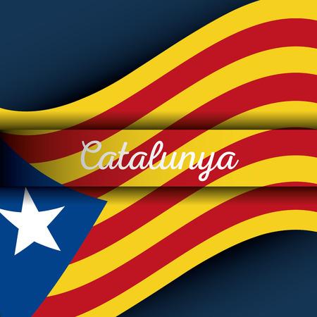 Cataluña, la bandera nacional, Europa, España, vector, ilustración Foto de archivo - 90056955