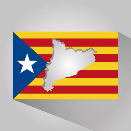 카탈로니아 어 및 플래그 애국심의지도 긴 그림자 벡터 일러스트 레이션