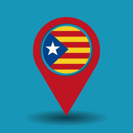 Cataluña, la bandera nacional, Europa, España, vector, ilustración Foto de archivo - 90056958