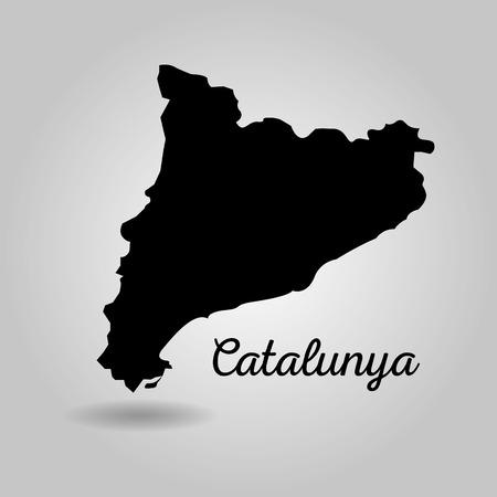 カタルーニャの黒地図スペイン独立ランドマーク ベクトル図  イラスト・ベクター素材