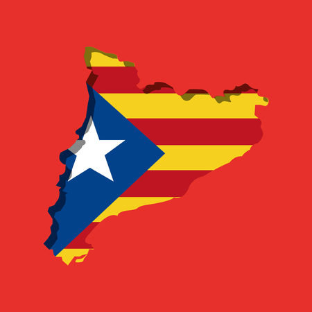 map of independent catalonia nationalist flag socialist movement vector illustration