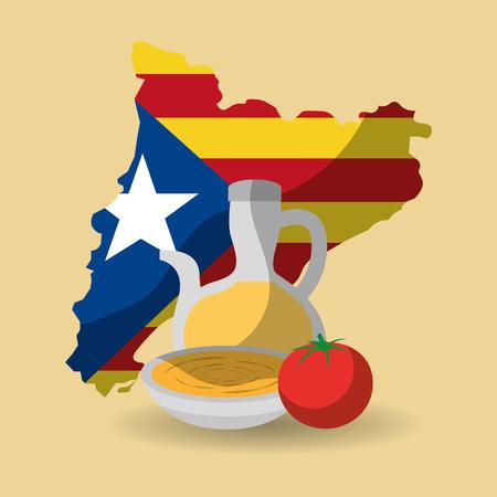 카탈로니아 국기 모양지도 국가 독립 및 크림 음식 전통