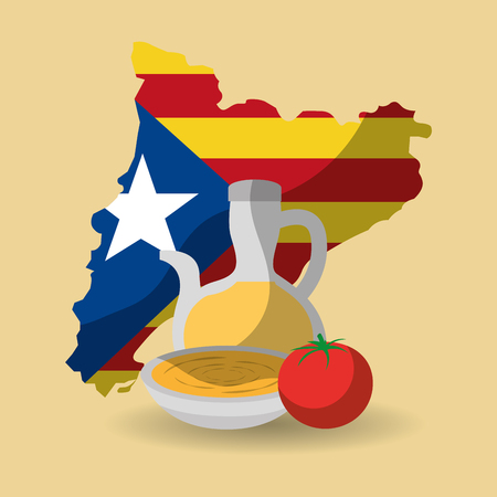 catalonia flag shape map nation independence and cream food tradition