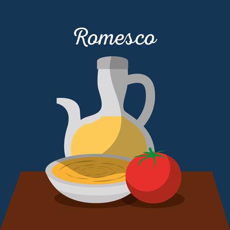 Traditionelles Essen Katalonien Romesco Gastronomie Vektor-Illustration Standard-Bild - 90056962