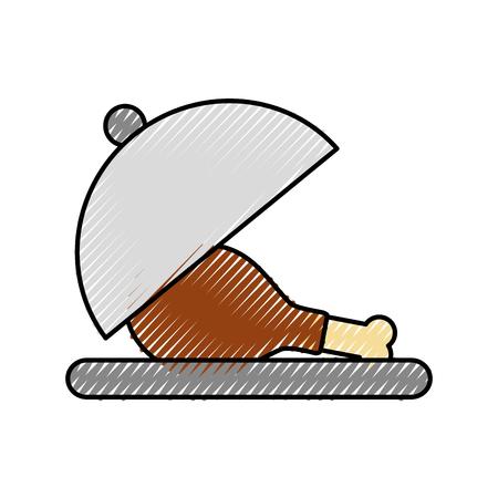 chicken or turkey thigh on tray food menu thanksgiving vector illustration