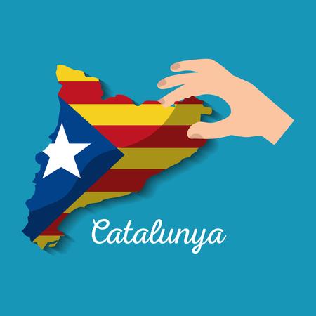 hand met kaart van Catalonië onafhankelijke nationalistische vlag vector illustratie