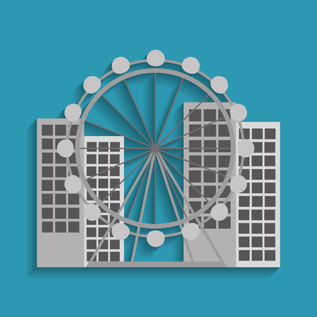barcelona attraction ferris wheel landmark tourism vector illustration Stock Vector - 90056988