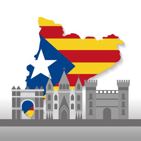catalonia barcelona with flag map and buildings symbol set vector illustration Banco de Imagens - 90056990