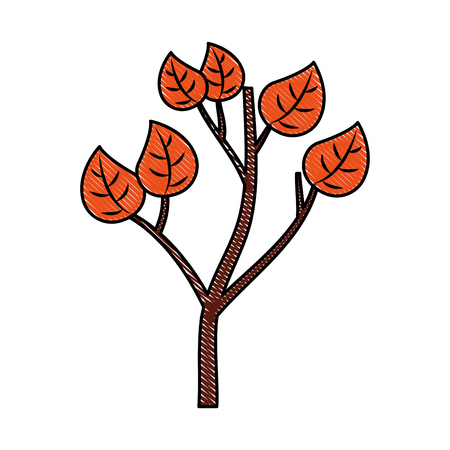 autumn branch of tree and leaves seasonal vector illustration Çizim