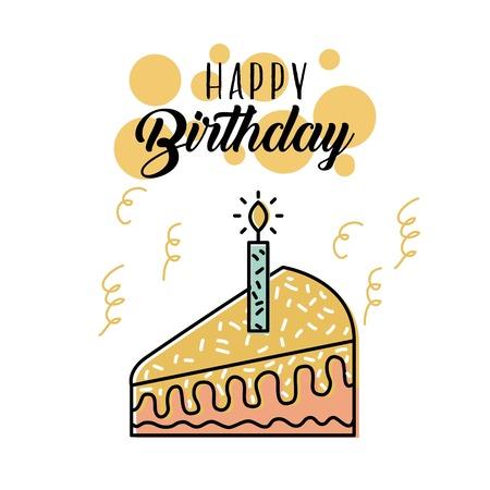happy birthday cake candle burning celebration vector illustration