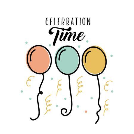 celebration time birthday balloons flying decoration vector illustration Illustration