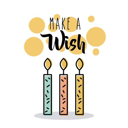 maak een wens kaarsen brandende vlam kaart uitnodiging vectorillustratie Stock Illustratie