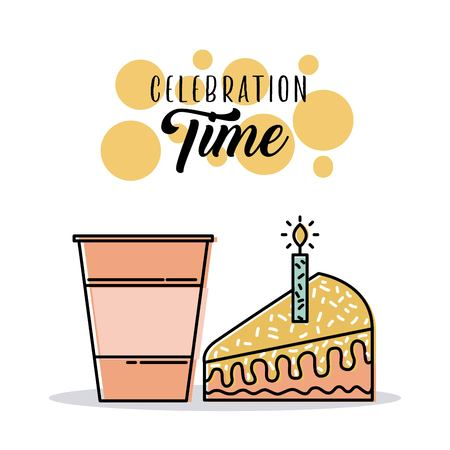 celebration time card with cake and soda celebration vector illustration