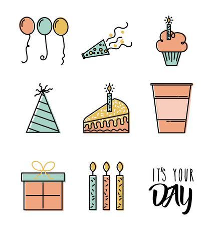 Happy birthday wish celebration time day icons vector illustration