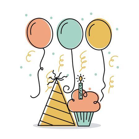 Anniversaire bougie de bougie et chapeau décoration ballons illustration vectorielle Banque d'images - 90143017