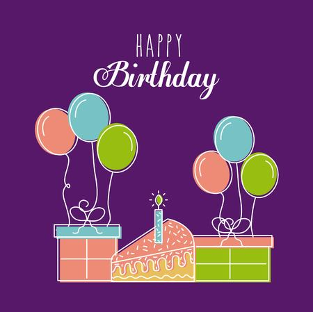 Happy birthday card greeting with cake gift balloon purple background vector illustration Stok Fotoğraf - 90143031