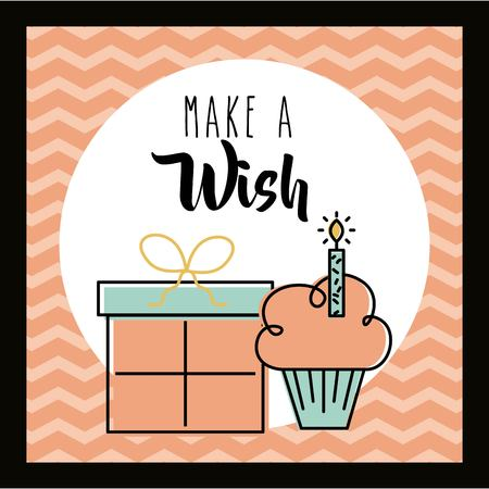Make a wish card invitation greeting cake and gift celebration vector illustration Illustration