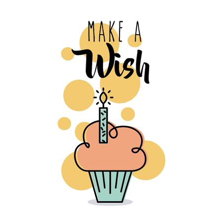 Make a wish card greeting cupcake candle celebration vector illustration Çizim